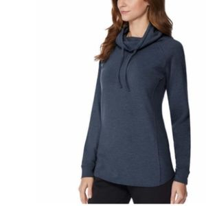 32 DEGREES Funnel Neck Top M |HEATHER BLUE